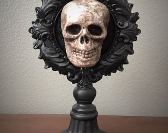Oval Skull Plaque on Pedestal
