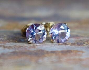 February Birthstone, 6mm Pink Amethyst & 14k Gold Filled Stud Earrings, Amethyst Earrings, Valentines Gift for Her, Stud Earrings Wife Gift