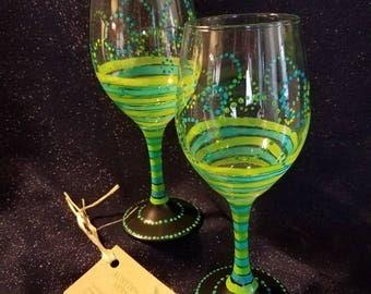 Dots & Stripes Wine Glasses