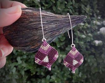 macrame earrings,  925 sterling silver beads, silver plated wire, handcrafted earrings, cherry black color