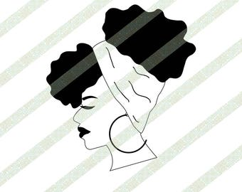 Afro Puff SVG, PNG, JPEG Black & White Profile, Natural Hair Puff, Head Scarf, Digital Download African American Ethnic Art