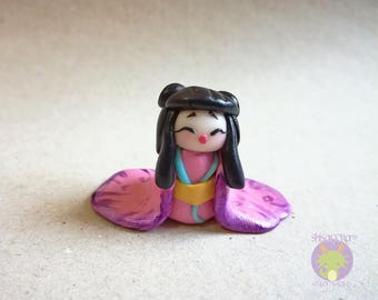 Geisha kawaii Kokeshi Handmade with Fimo-hand made-Japan-Japanese
