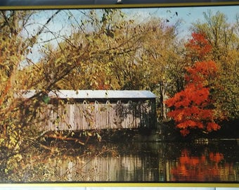 Vintage 1974 Warming Tray, Beautiful fall covered bridge image