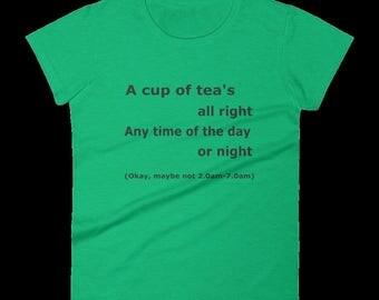 Funny T Shirt for Tea Lover. An Ideal Tea Lover Gift. Unisex T Shirt Gift Under 20. Joke Gift For Mum, Womens Party Shirt, Christmas Gift