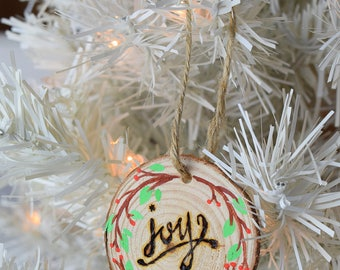 Joy Wreath Woodburned Hand painted Wooden Christmas Ornament