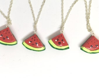 Watermelon Best Friends Necklace Gift for four 4