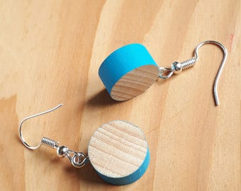 Scalloped and painted wooden earrings
