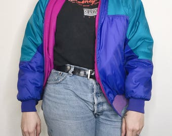 Vintage 90s Columbia Sportswear Color Block Jacket Radial Sleeve VTG Puffer Coat 80s Fashion