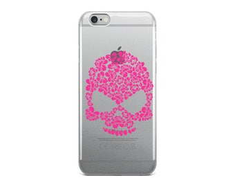 Pink Hibiscus Floral Skull iPhone 5/5s/Se, 6/6s, 6/6s Plus Case