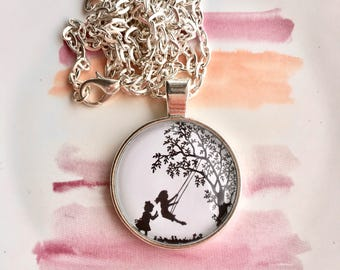 Girls on Swing Glass Dome Necklace
