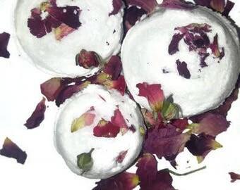 Fresh Roses /Bath Bombs/lot of 3 / Two Meduim and 1 mini