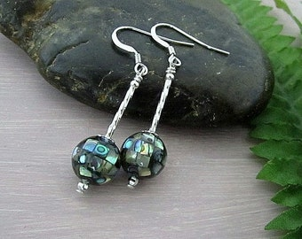 925 Sterling Silver Twisted Mosaic Abalone Earrings
