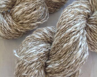 NATURAL  ~  undyed COTTON/Linen yarn ~ worsted/Aran weight