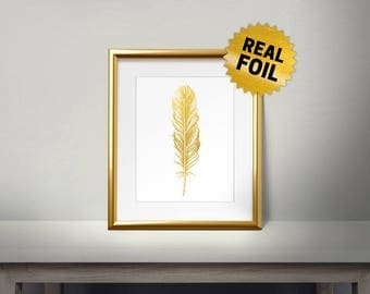 Feather Wall Decor, Real Gold Foil Print, Gold Wall Art, Large Feather, Golden Bird, Framed Feather, Foil Feather, Shiny, Living Room Decor