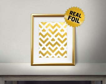 Gold Zigzag Pattern, Real Gold Foil Print, New Design, Modern Home Decor, Pattern Gold Decor, Home Decoration, Luxary Frame, Lines
