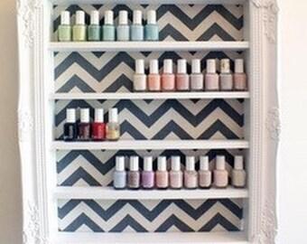 Chev Makeup Nail Polish Display Organizer - Vanity Display - Nail Polish Rack - Beauty Room Decor - Chevron Decor