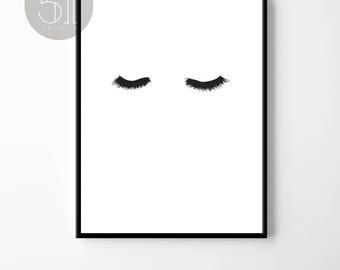 Eye Lashes print, lashes poster, eye lash wall art, beauty, printable art, black and white, Chic, Eye Lashes, minimalist