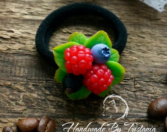 Berries doughbands jewelry of polymer clay raspberries barrette blueberries pin blackberry idea gifts hair with berries handmade hairpin