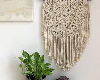 Large Macrame Wall Hanging on a Foraged Branch, Woven Wall Hanging, Boho Hippie Tapestry, Bohemian Home Decor