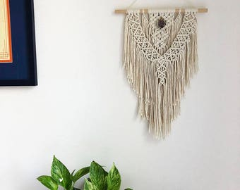 Macrame Wall Hanging on a Wooden Dowel with Purple Jasper Crystal, Woven Wall Hanging, Boho Hippie Tapestry, Bohemian Decor, Statement Piece