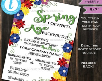 Rodan Fields Invitation Business Launch Party BBL Invite R+F Spring Forward Age Backwards Wine Cheese Printable R and F INSTANT SelfEDITABLE