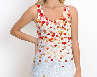 Regular Tank Top W Heart Falls Print