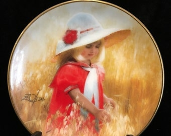 Donald Zolan Collectable Miniature Plate - JESSICA'S FIELD - 1993 - Pemberton and Oakes
