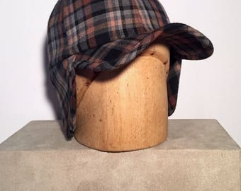 Trapper Baseball Cap - Black/Toffee/Grey Plaid wool