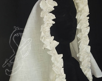 Frilled linen veil/Velo di lino con arricciatura