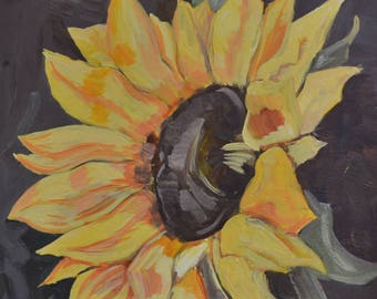 Sunflower-Acrylic painting on canvas-impressionistic-by Stanislav STEFANOV-floral art, wall decor, wall art, gift idea
