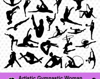 Artistic Gymnastic Women SVG, Artistic Gymnastic Women Silhouette, Clipart, Sport SVG, Sport Scrapbook, Vector Files, dxf Files, MSD-002