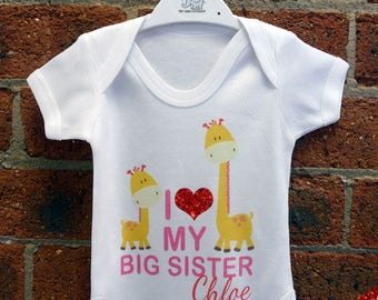 """Glitter - I Love My Big Sister """"NAME"""" Baby Vest / Baby Grow / Baby Playsuit"""