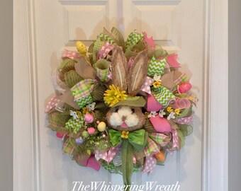 Easter Wreath - Bunny Wreath - Spring Wreath - Easter wreaths - Bunny wreaths - Spring Wreaths - Burlap Wreath