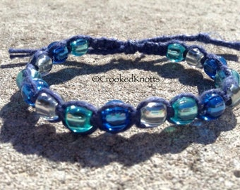 Adjustable Hemp Beaded Bracelet - Blue