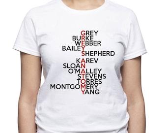 Greys Anatomy; Characters tshirt; Greys Anatomy shirt; Womens t-shirt; Women tshirt; Grey; Burke; Shepherd; Webber; Bailey; Karev; (Gre5)