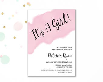 Pink baby shower invitation printable, girl baby shower invitations girl baby shower invites baby girl baby shower invite digital BaS06