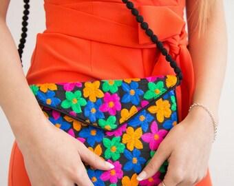Embroidered Bag, Boho Floral Bag, Ladies Handbag Purse, Fabric Vegan Bag, Cross Body Handbag, Envelope Clutch, Flower Design Bag, Summer Bag
