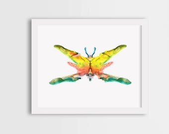 Colorful butterfly print, girl room decor, watercolor butterfly art, butterfly painting, butterfly illustration