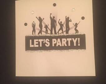 Let's Party Square Blank Card