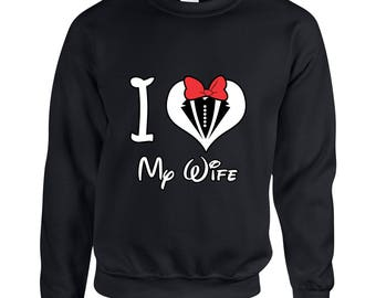 I Love My Wife Minnie Mouse  Couple Goals Clothing Adult Unisex Sweatshirt Printed Crew Neck Sweater for Women and Men