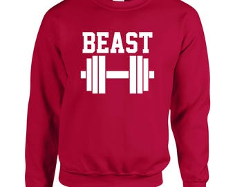 Beast Gym Work Out Fitness Cool Adult Printed Sweater Design Clothing Unisex Sweatshirt Crew Neck for Women and Men