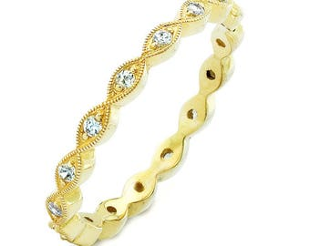 Hand detailed Diamond Stackable ring, 14K Yellow Gold