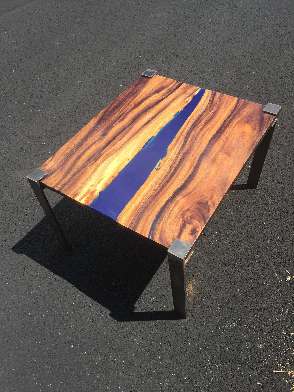 Hawaiian Exotic Monkey Pod Wood Table With Blue Tinted Resin Inlay