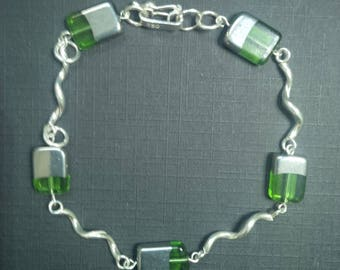 Bracelet for Women in Sterling Silver with Green Crystal Silver-plated