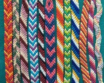 Woven string friendship bracelets