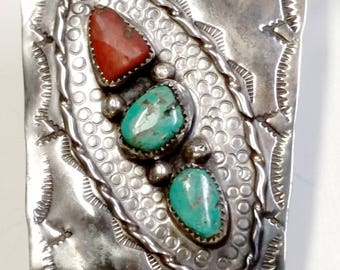 Sterling Silver, Turquoise and Red Jasper* Bolo Tie with Bennett Clasp