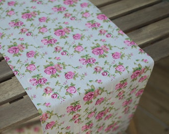 Vintage rose fabric table runner