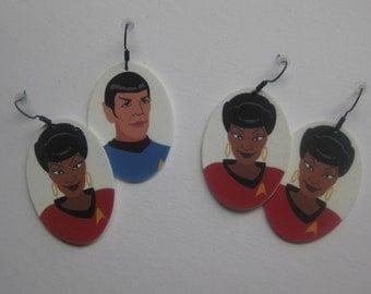 Star Trek earrings, Uhura, Lt. Uhura earrings, Uhura and Spock, Star Trek Spock, Nichelle Nichols, Nyota Uhura, Leonard Nimoy