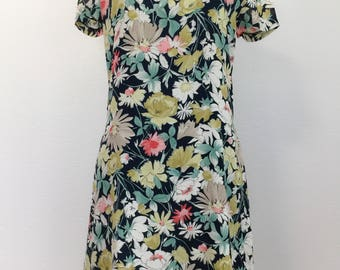 1980s Vintage Floral Dress for Women Flower Spring Dress Summer Dress Pretty Watercolor Dress Feminine Date Night Dresses Size 2 Small Dress