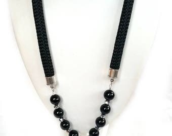 DRUZY AGATE Onyx NECKLACE rope